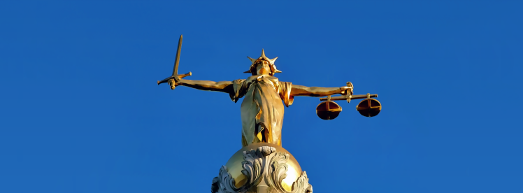 Lady Justice statue on the Old Bailey, London