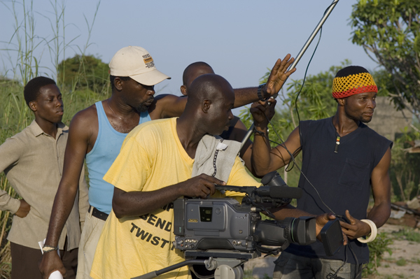 Director Bond Emeruwa and crew shoot a scene in 2007 documentary 'This is Nollywood'