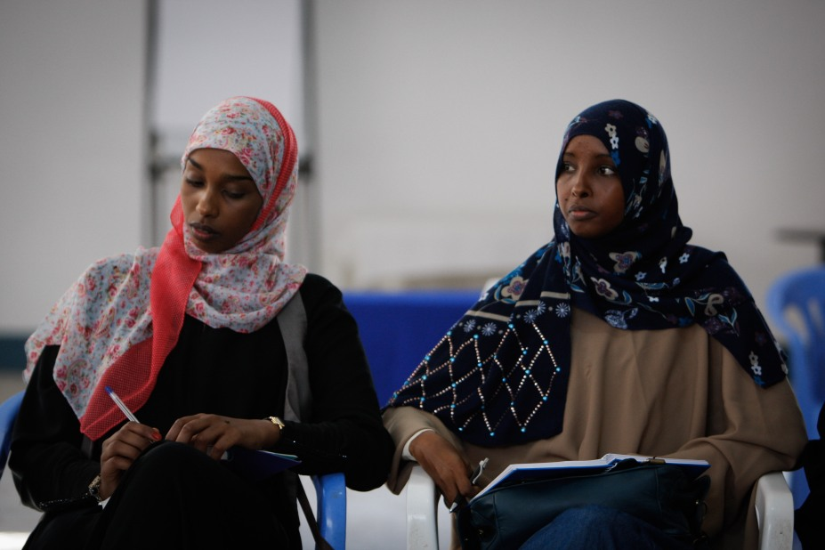 Two Somali women at a meeting with United Nations Special Representative of the Secretary-General for Somalia. Credit : AMISOM Public Information